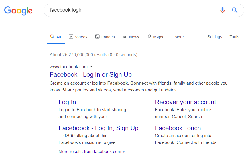"Google Search - Navigational Search: ""Facebook login"""