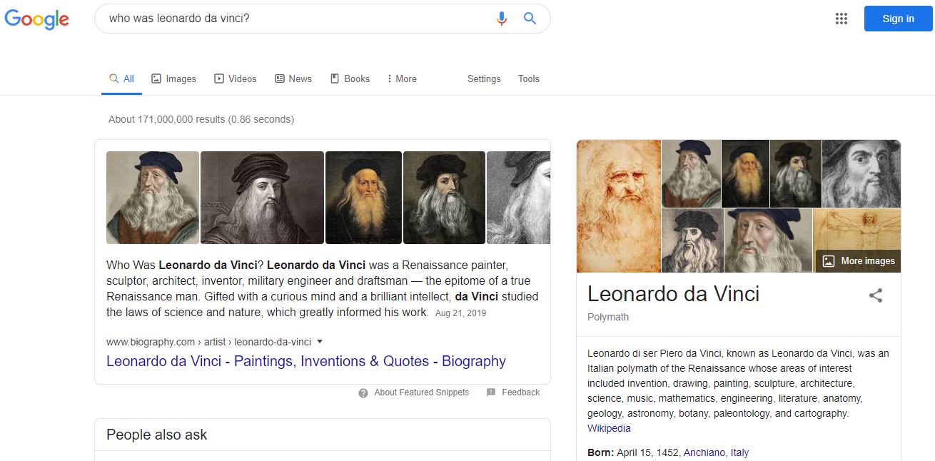 "Google Search - Informational Search: ""Who was Leonardo da Vinci?"""