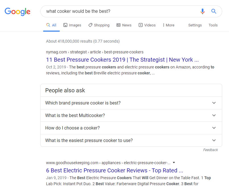 "Google Search -  Commercial Search: ""What cooker would be the best?"""