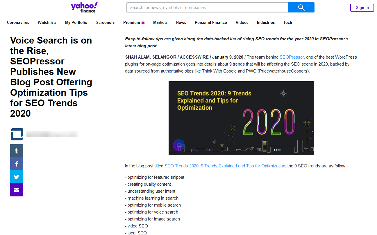 example of press release on yahoo finance distributed through marketersmedia