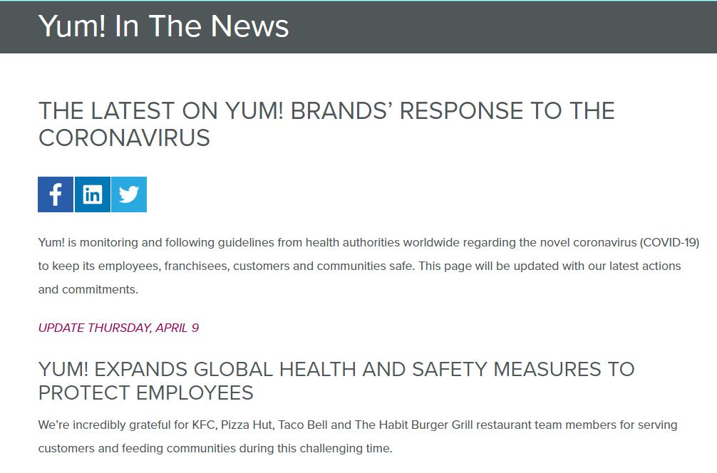 Brands response to coronavirus