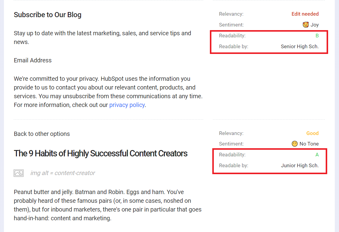 Use Content Intelligence to check your content's readability.