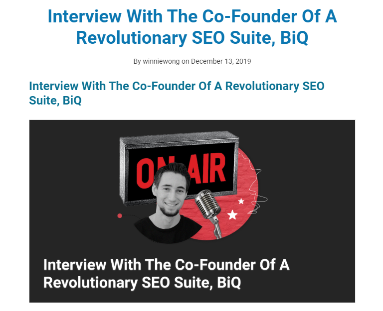 Interview with BiQ SEO Suite